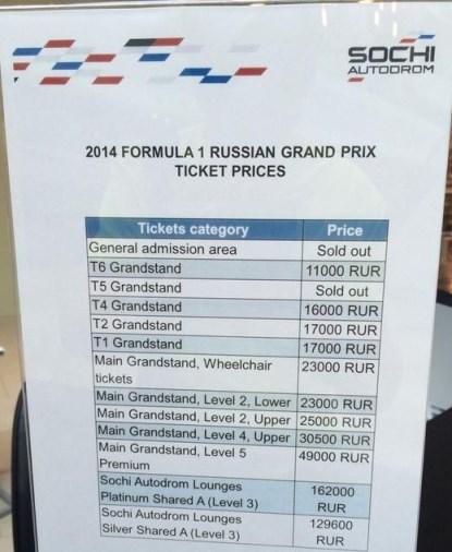 Интересное: Цены на билеты гран при России Формулы-1 в Cочи