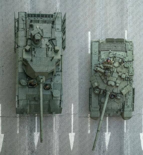 Интересное: Армата и Т-90 сверху