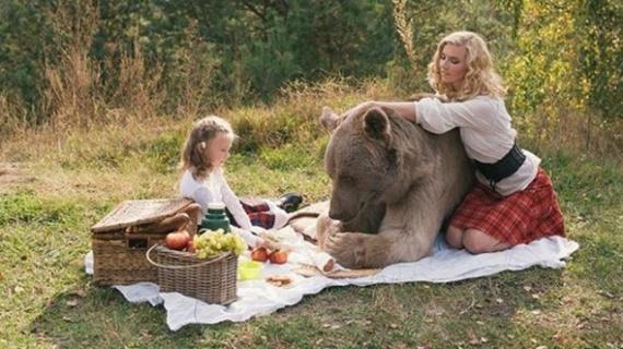 Животные: Фотосессия с медведем