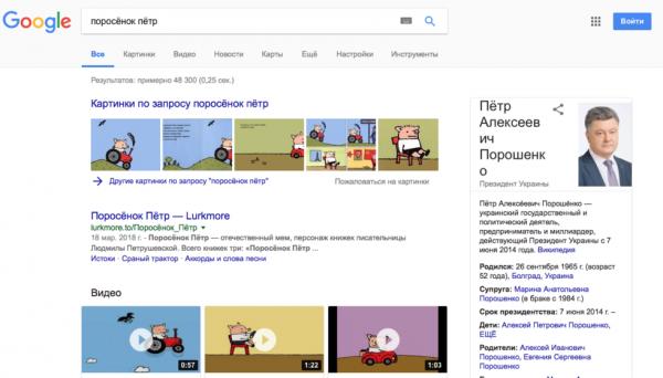 Интересное: Google записал Порошенко в поросята