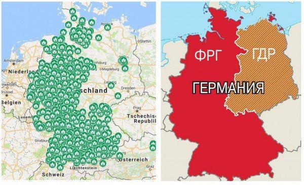 Страны: Карта мечетей в Германии. Найдите границу между ФРГ и ГДР