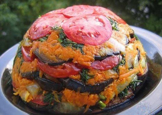 кухня: Летнее овощное блюдо из баклажанов