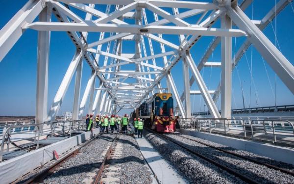 Новости: По железнодорожной части Крымского моста отправили тестовый дизельный поезд