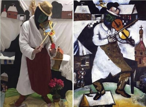 Картинки: Народ, сидя дома, мается от безделья и повторяет известные картины