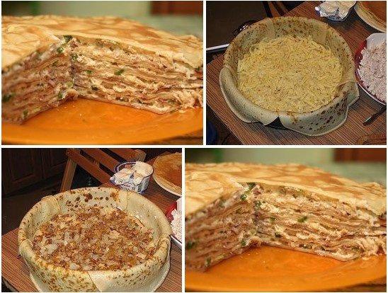 Кухня: Блинный пирог с курицей и грибами