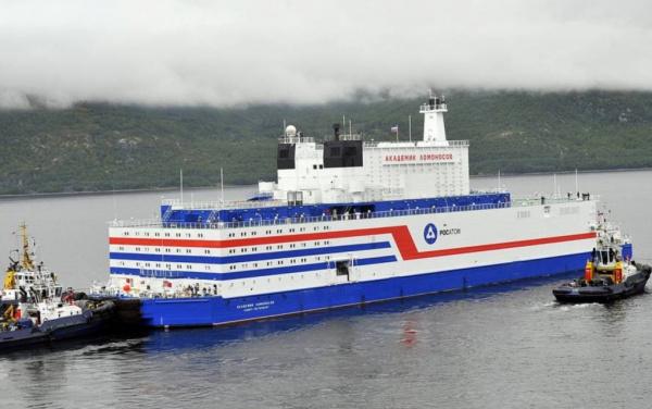 Экономика: Первая в мире плавучая АЭС *Академик Ломоносов* введена в эксплуатацию на Чукотке
