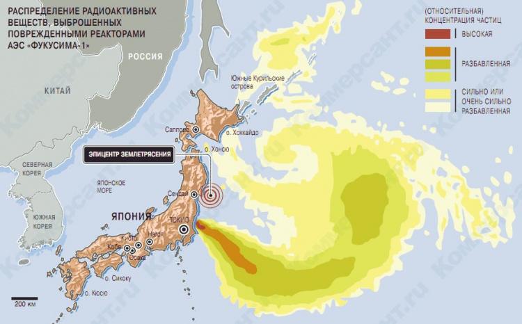 Природа: Распределение радиоактивных веществ от АЭС ФУКУСИМА-1