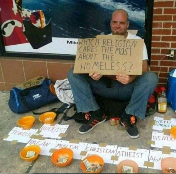 Стеб: Какая религия больше всех заботится о бездомных?