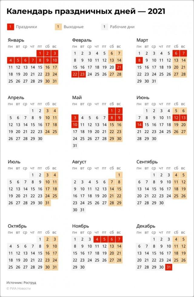 Общество: Производственный календарь на 2021 год
