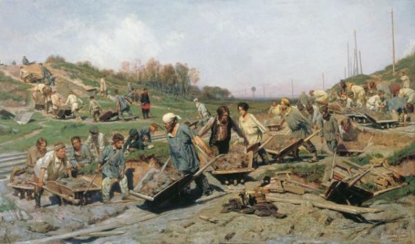 История: Ремонтные работы на железной дороге: что изображено на картине