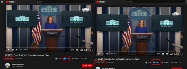 Политика: YouTube начал манипулировать лайками-дизлайками с видео команды Байдена
