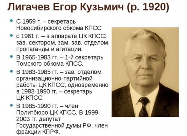 Личность: На 101-м году жизни умер Лигачев Егор Кузьмич