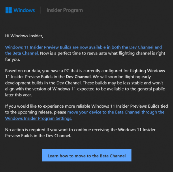 Технологии: Microsoft:  будущие сборки Windows 11 на канале Dev будут менее стабильными