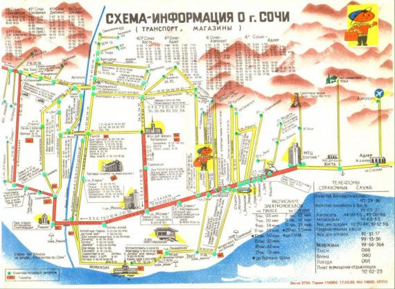 Адлер: Схема-информация о Сочи 1989 года