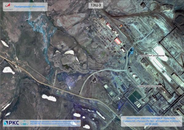 Природа: «Роскосмос» опубликовал спутниковые снимки места разлива нефтепродуктов под Норильском